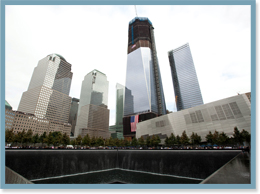 One of the two massive pools, surrounded by 30-foot waterfalls, in the footprints of the World Trade Center towers at the newly opened 9/11 Memorial